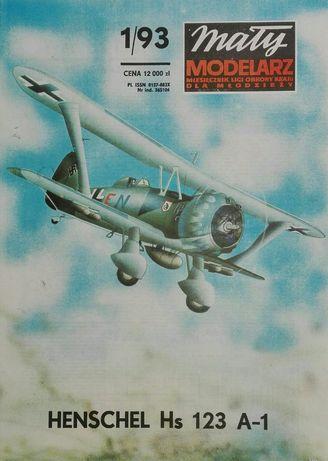Mały Modelarz 1/93 samolot szturmowy Henschel He 123 model kartonowy