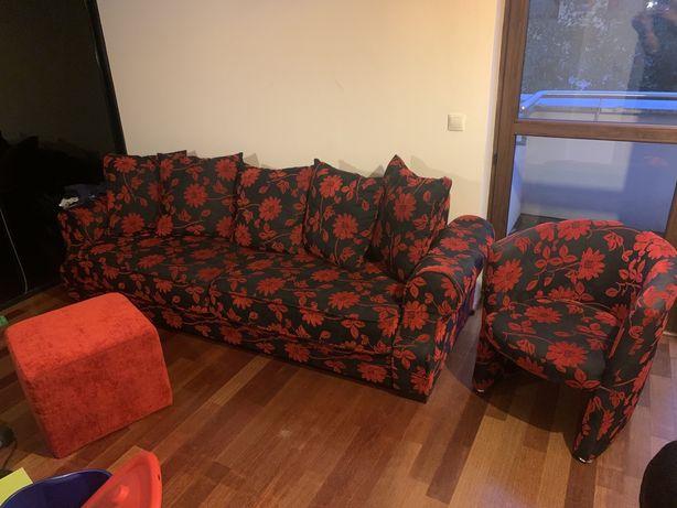 Sofa 3-os, rozkladana + fotel + pufa