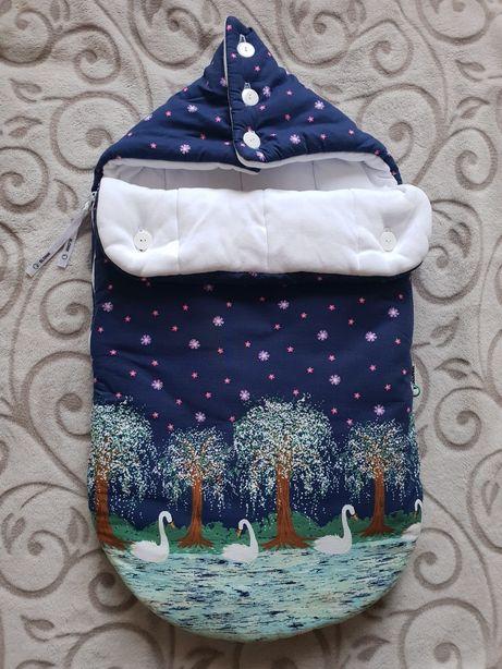 Зимний конверт для новорожденных ТМ Slonik в коляску на выписку
