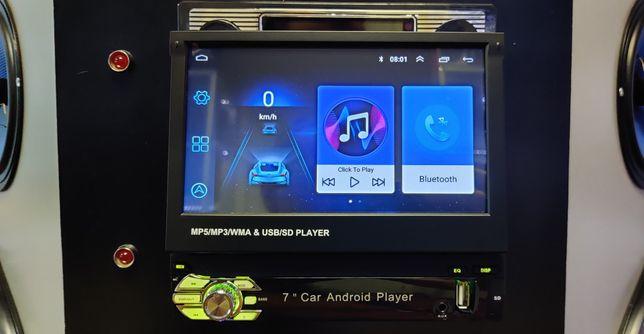 """Автомагнитола с выдвижным 1DIN экран 7"""" Android 1/16, GPS, BT"""