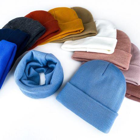 Комплект шапка хомут снуд шерсть холодная осень зима 48 50 52 54 56