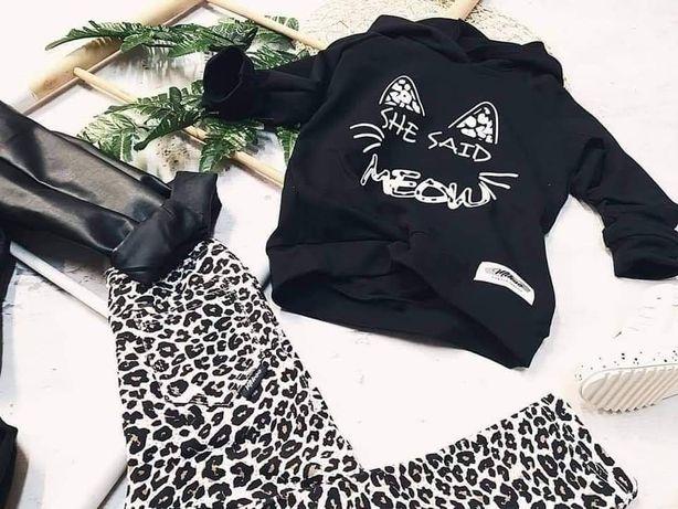 Komplet leginsy panterka czarna bluza Mikoo kids