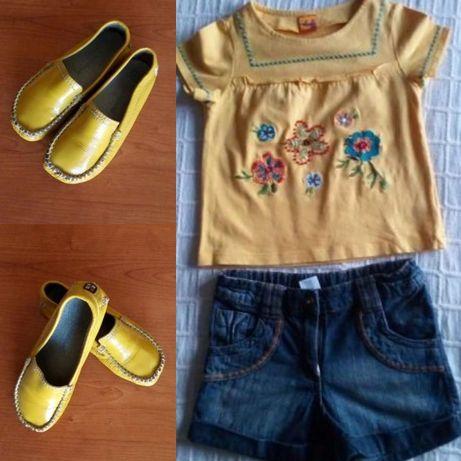 IRRESISTIVEIS l Blusa + Calções Ganga 4-5Anos + Sapatos em pele N.28