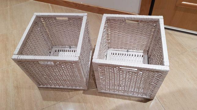 2 Cestas de arrumação em verga brancos IKEA