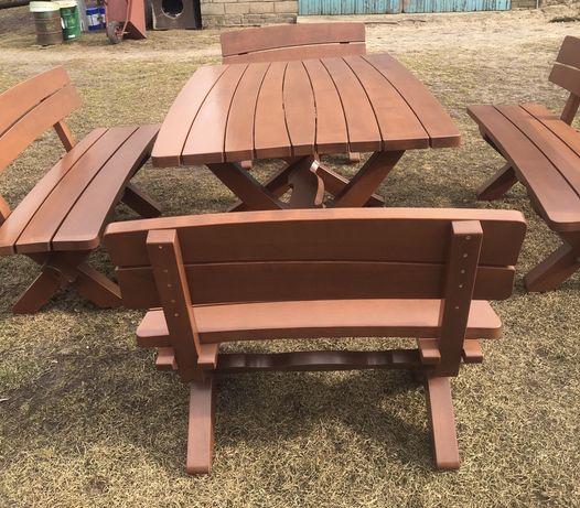 Stół ogrodowy drewniany z 4 ławkami