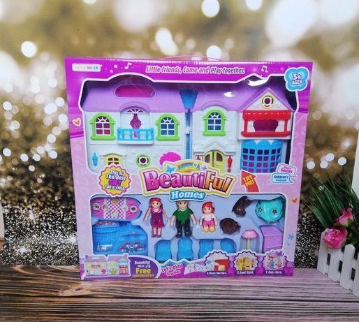 Кукольный Домик звук свет раскладной,фигурки,мебель,дом для кукол