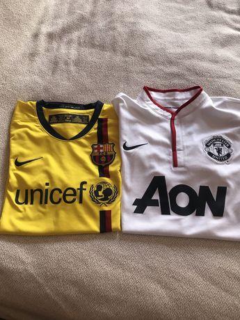 2 Camisolas futebol originais, barcelona e manchester united