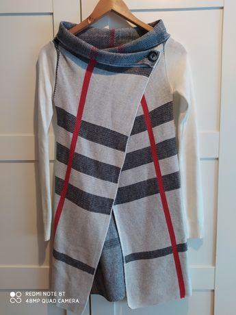 Sweter długi xs/s kratka