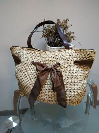 Torebka damska plażowa torba słomiana z trawy duża