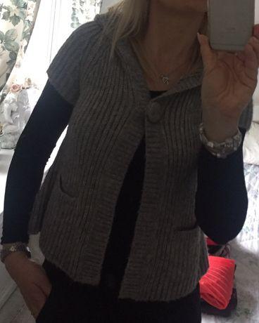 Sweter zapinany z krótkim rękawem kardigan xs s 34 36 szary C&A
