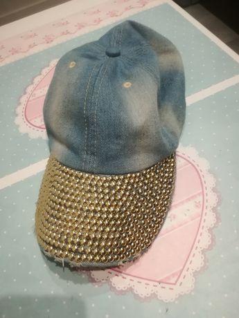 Nowa czapka z daszkiem jeansowa złote dżety modna postarzana czapeczka