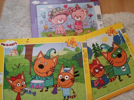 Puzzle na kartoniku kotociaki kot-o-ciaki puzelki koty misie jak nowe