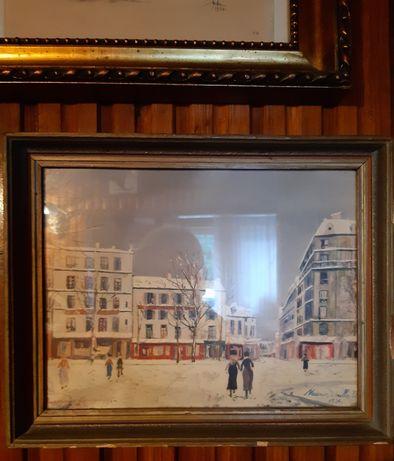 Stary obraz grafika za szkłem