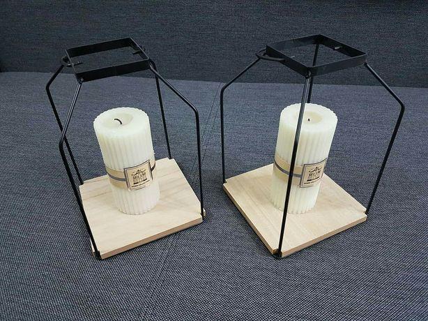świecznik drewniano-metalowy ze świecą