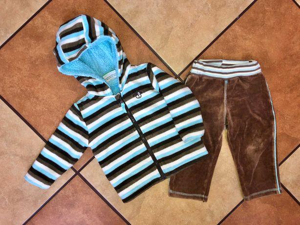 Zestaw bluza na misiu i spodnie welurowe dla chłopca