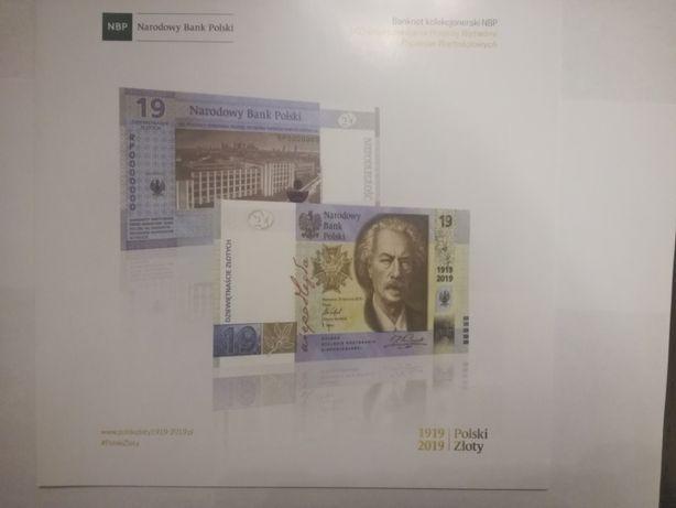 Folder do banknotu kolekcjonerskiego 19zł 100lat PWPW