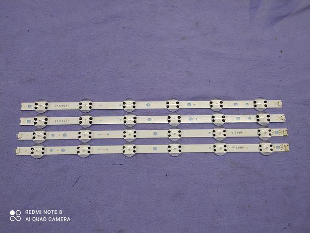 "Kit de 4 barras LED's 2 L1 e 2 R1 x 6 LED's cada p/ LG 49"" V1749 L1/R1"