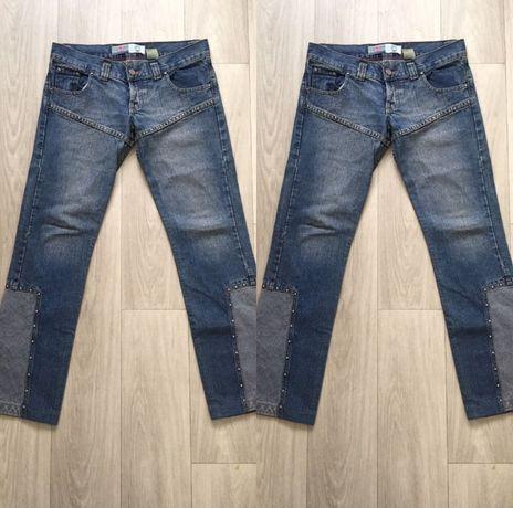 Ciemne spodnie jeansowe biodrówki s m jeansy ozdoby