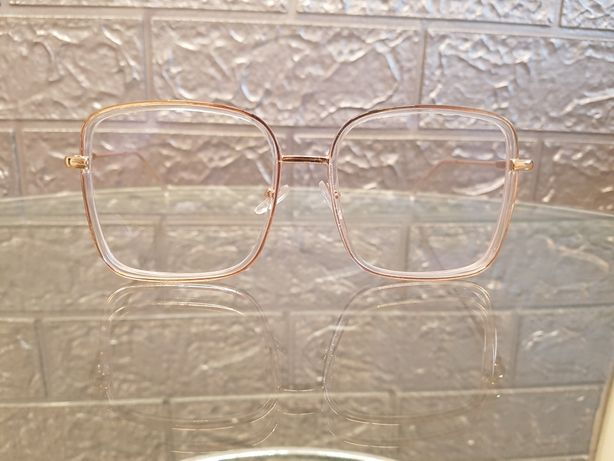 Okulary oprawki kwadratowe przezroczysto złote unisex nowe