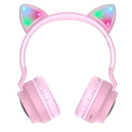 Наушники Bluetooth HOCO Cheerful Cat ear W27 розовые