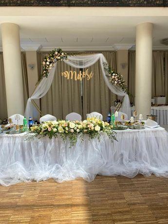 Ścianka weselna heksagon i koło metalowy na ślub, wesele, plener.