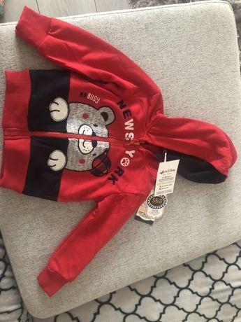 Bluza niemowleca  czerwona z kapturem