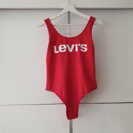 Czerwony kostium kąpielowy logo Levi's