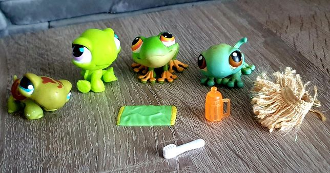 Littlest Pet Shop LPS Figurki jaszczurka żaba żółw + akcesoria