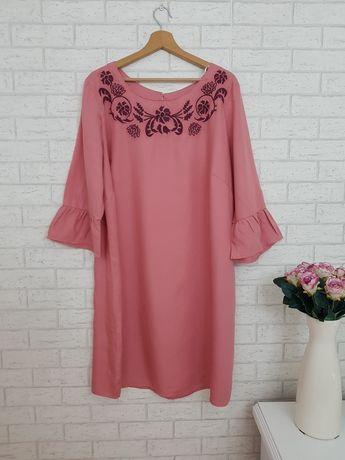 Różowa sukienka z haftem kwiaty roz 48 4XL Asos nowa
