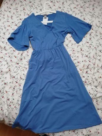 Długa niebieska sukienka komunia wesele dekolt v h&m S z wiązaniem