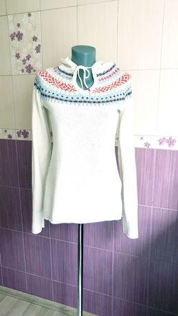 Шерстяной свитер белый вязаный капюшонка теплая h&m