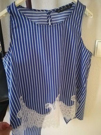 Bluzka Zara M paski koronka