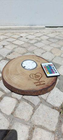 Bases madeira LED HS DESIGN Catering Casamentos personalizáveis