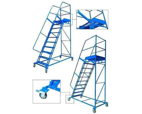 Передвижные лестницы для склада, лестница с платформой