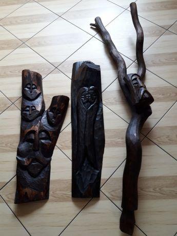Rzeźba z drewna komplet - twórczość ludowa