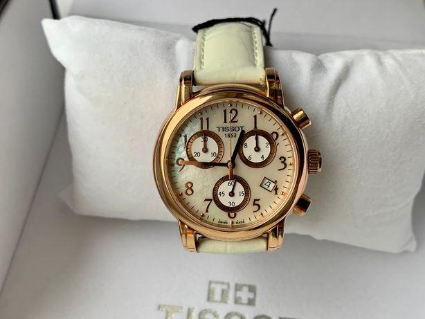 женские классические часы TISSOT белый ремешок золотой цвет перламутр