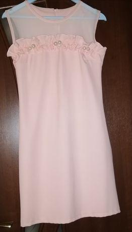 Персиковое платье с бусинами