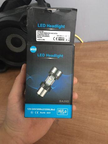 Żarówka LED BA20D 30W 12V skuter 2 X 3200 LM Mocna