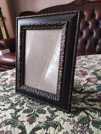 Nowa ramka na zdjęcie brąz drewno wzorek prezent