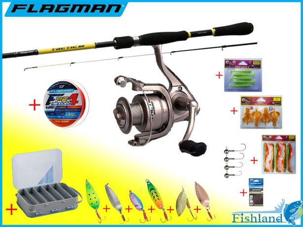 Набор для ловли хищной рыбы 18в1 Спиннинг + Катушка Флагман + Приманки