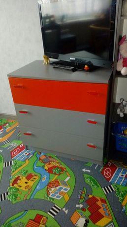 Komplet mebli czerwono-szare szafa komoda szafeczka
