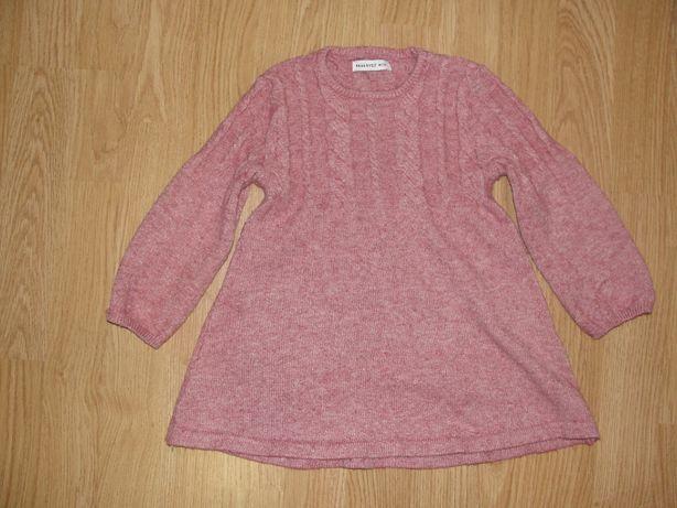 ciepła sukienka-pudrowy róż-80cm-reserved