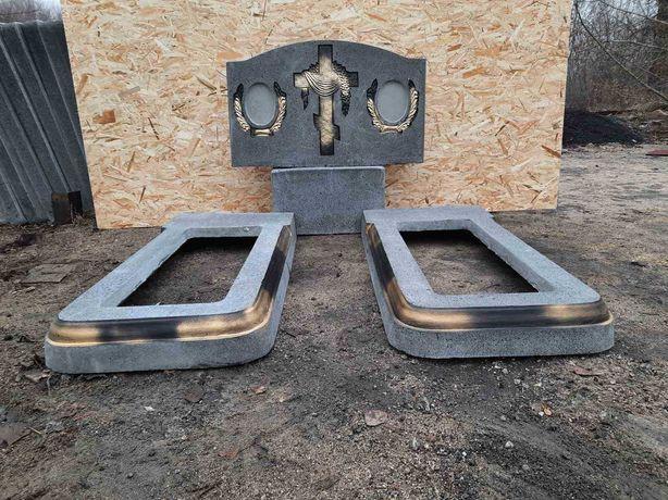 Памятники бетонные с гранитной крошкой
