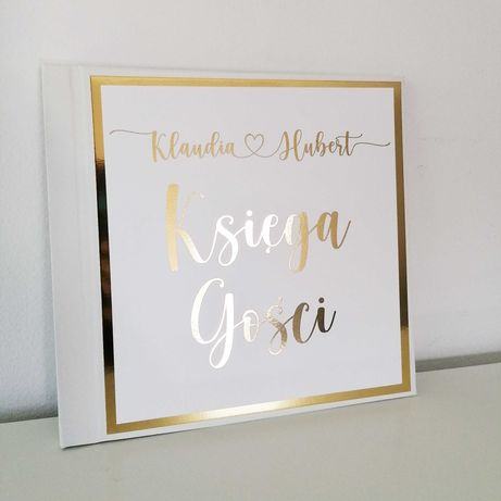 Piękna księga gości na wesele ze złoceniem
