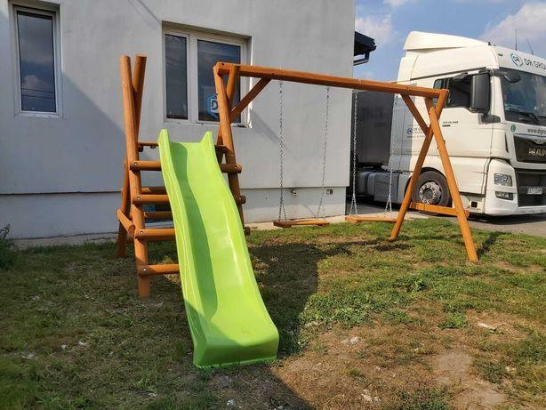 huśtawka ogrodowa dla dzieci; dziecięca; zjeżdżalnia + 2 huśtawki