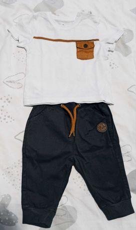 Komplet niemowlęcy chłopiec spodenki koszulka T-shirt elegancki r. 62