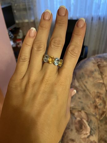 Кольцо золото, топаз, цитрин