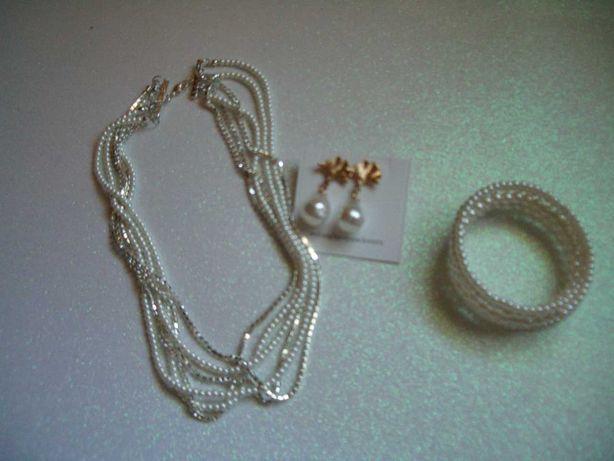 Colar em pérola de vidro e zircónias pulseira e brincos pérola