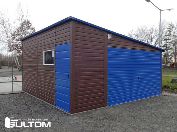 Garaż blaszany z profili zamkniętych blaszak 5x5 kolor drewnopodobny