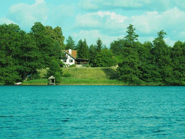 Całoroczny dom nad jeziorem Mazury , własna plaża , las , sauna